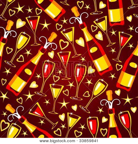 Valentine seamless pattern with bottles end glasses