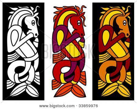 keltischer Schmuck-Element mit Pferd