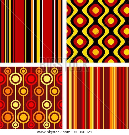 4 versions of retro seamless patterns