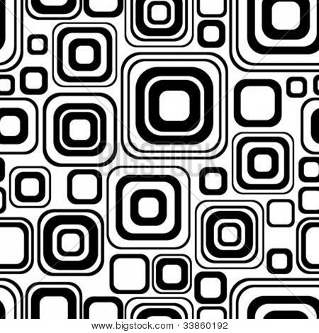 Seamless black-and-white retro pattern with rounded squares