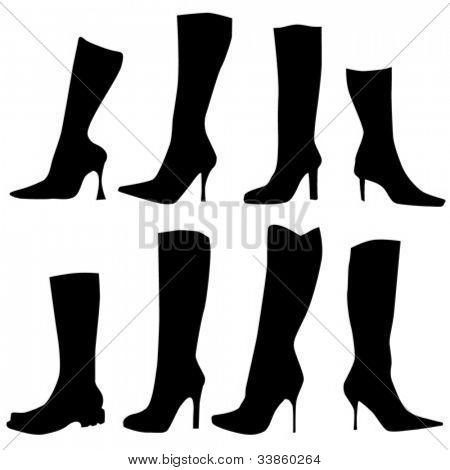 Silhouettes of ladies jackboots