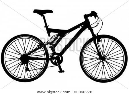 illustration of a modern mountain bike with full-suspension