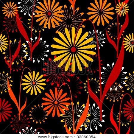 Seamless retro pattern with flowers. Jpg version, see vector in my portfolio