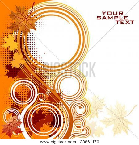 Autumnal floral background with copy space