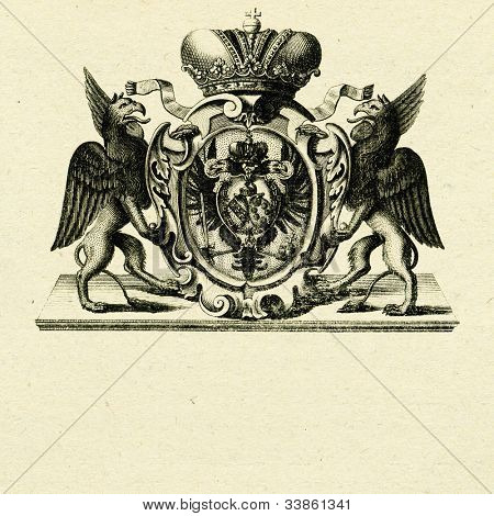 coat of arms with griffins on old paper background