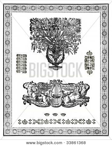 Set of vintage design elements. Based onengraving of 18 century magazines. Copyright expired.
