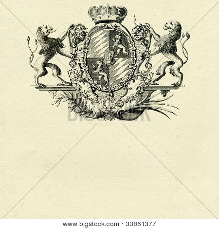 coat of arms with lions on old paper background