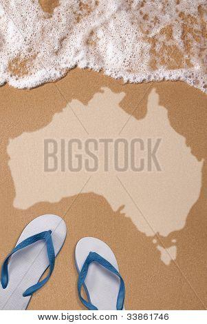 Australian Textured Map In Wet Sand On The Beach