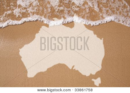 Sand With Map Of Australian Continent