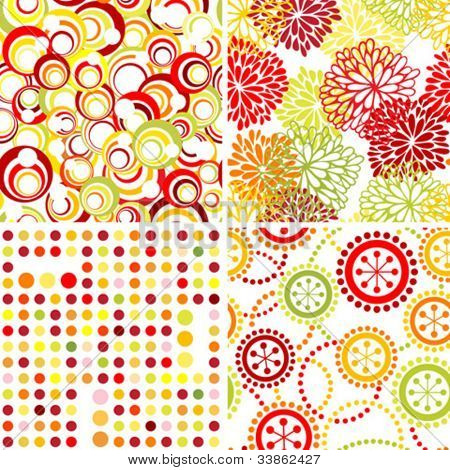 Set of seamless geomet?ic and floral backgrounds