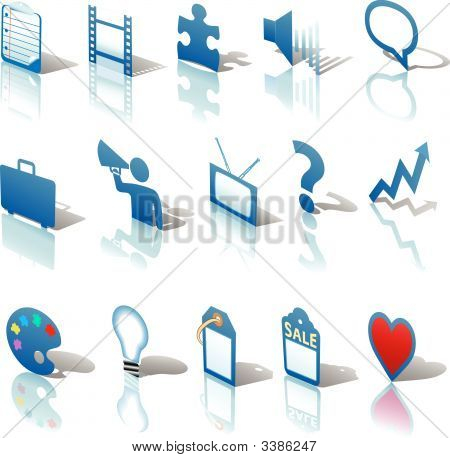 Communications Media Business Icons Set 3 Angled Blue