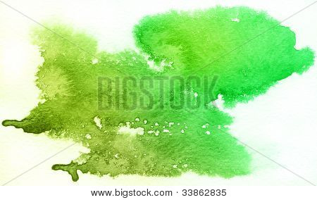 Green spot, watercolor abstract hand painted background