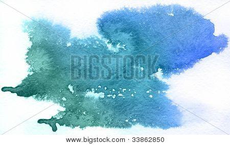 Mancha azul, aquarela abstrata mão pintado o fundo