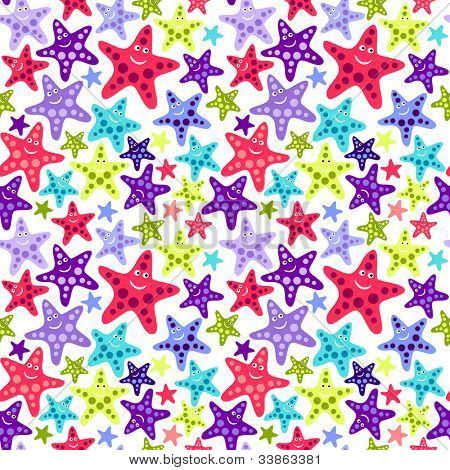 Seamless pattern with funny starfishes