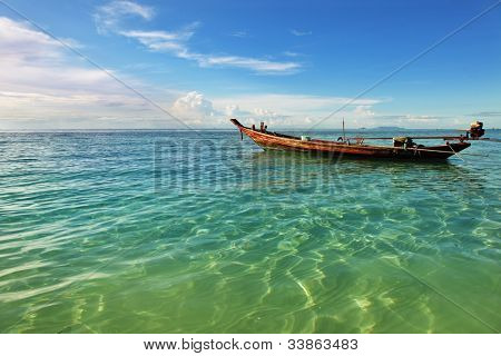 Seascape with a fisherman's boat in Thailand