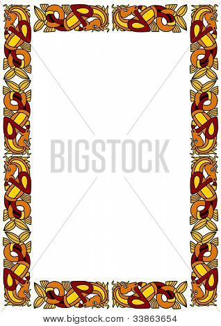 Celtic ornamental frame with horses