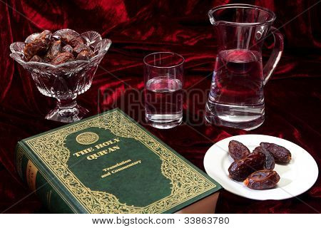 Dates and water, traditional foods for breaking the fast at the end of each day during Ramadan.