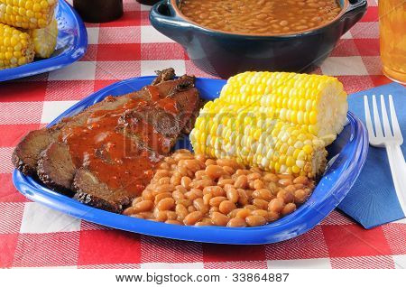 Beef Brisket With Boston Baked Beans