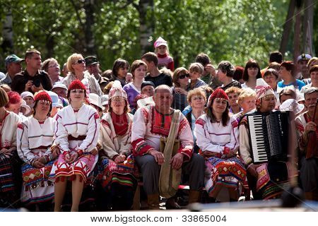 VINNICI, LENINGRAD REGION, RUSSIA - JUNE 10: People during celebrate the annual holiday Vepsian national culture