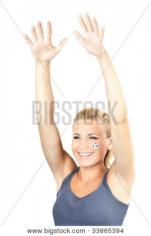 Happy football fan waving hands, cute girl smiling, expressing emotions of happiness and joy, female watching ball competition, sport team supporter, woman having fun, isolated on white background