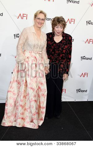 LOS ANGELES - JUN 7:  Meryl Streep, Shirley MacLaine arriving at the AFI Life Achievement Award Honoring Shirley MacLaine at Sony Pictures Studios on June 7, 2012 in Culver City, CA