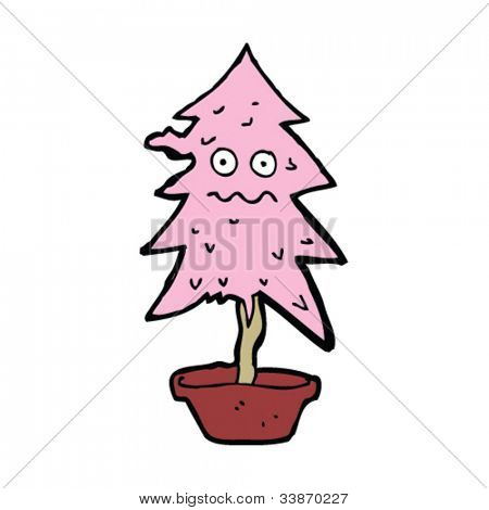 cartoon pink christmas tree looking worse for wear