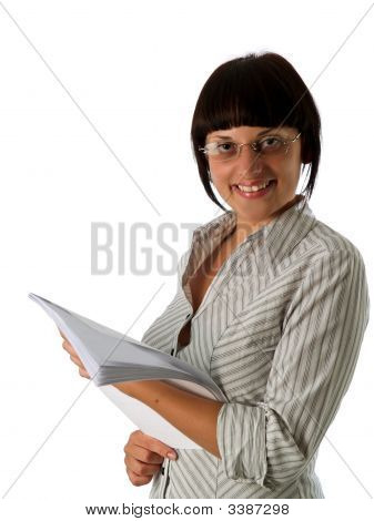 Young Businesswoman With Papers