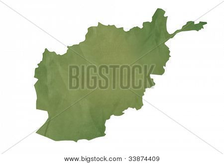 Old green map of Afghanistan in textured green paper, isolated on white background.