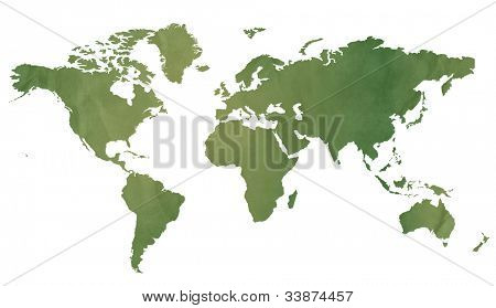 World map in old green paper isolated on white background.