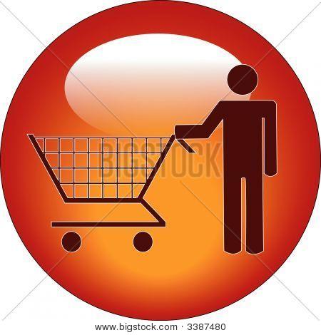 Hombre del palillo de botón empujando el carrito de compras.