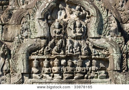 Ancient Khmer Sun and Moon Carving, Angkor