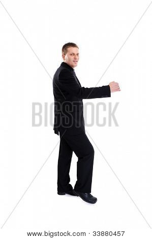 Happy businessman isolated over white background