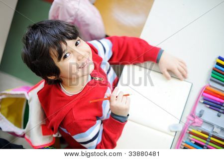 Beautiful kid in school - topview angle