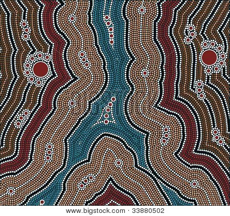 A Illustration Based On Aboriginal Style Of Dot Painting Depicting Night