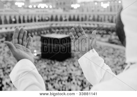 Muslim man praying at Kaaba, Makkah