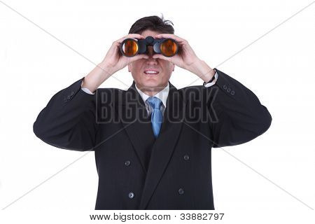 Senior man observing through binoculars isolated over white background