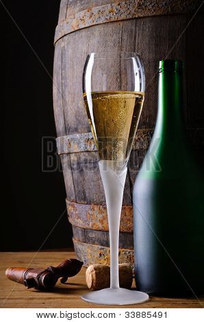 Glass And Bottle Of Champagne