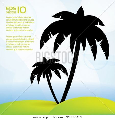 Tropical, summer vector background with pal trees