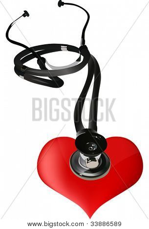 illustration with stethoscope and red heart isolated on white background