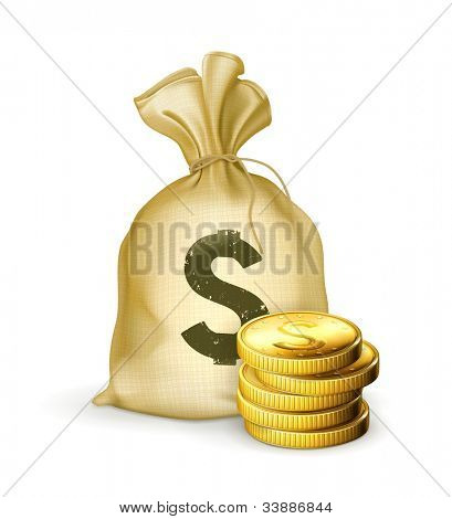 Moneybag and coins, bitmap copy