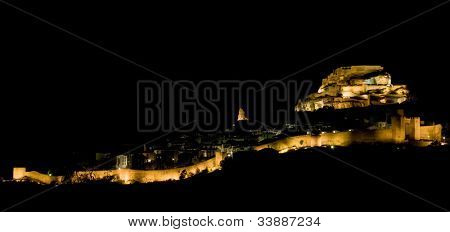 Morella at night, Comunidad Valenciana, Spain