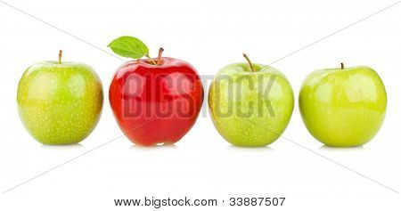 red apple between green ones