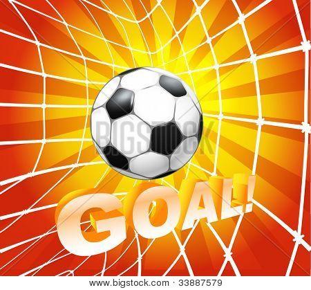 Football (soccer) ball in a net. Goal