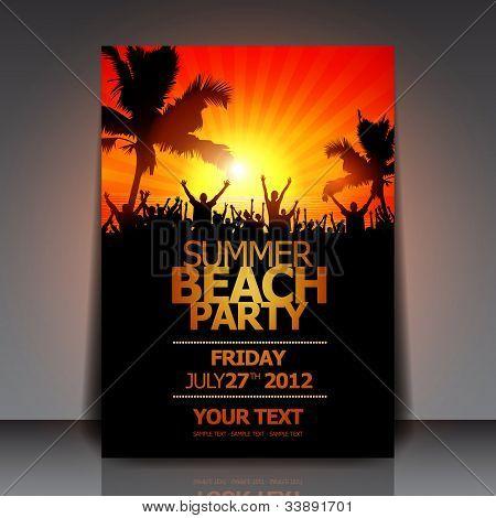 Sommer Beach Party Flyer - Vektor-Design