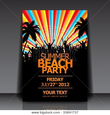 Summer Beach Party Vector Flyer Template - EPS10 Design