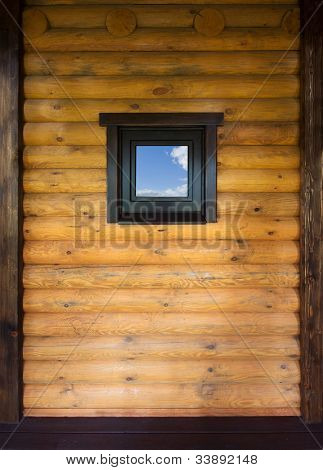 Wooden wall with small window