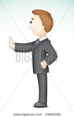 illustration of confident 3d business man in vector standing showing stop gesture