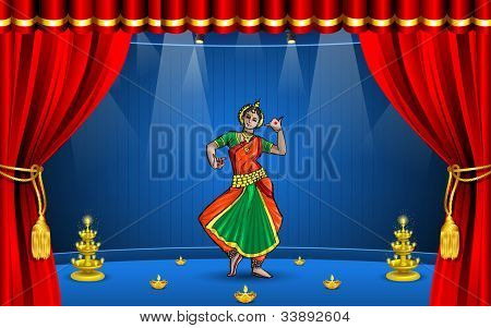 illustration of Indian classical dancer performing odissi on stage
