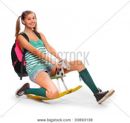 Funny schoolgirl riding back to school.