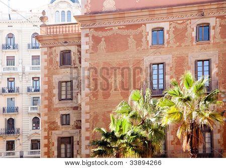 Barcelona city buildings facade in Sant Pere mes Alt street